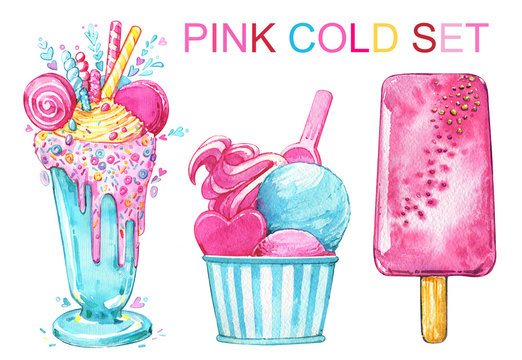 Ice cream cocktail popsicle pink summer delicious watercolor set