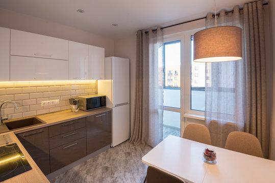 Modern kitchen in the apartment