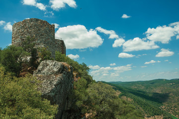 Castle on top of rocky cliff near the Tagus River valley