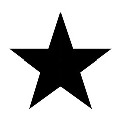 black five points star on white background