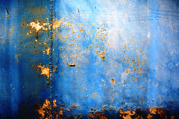 texture background metal blue old wall with rust