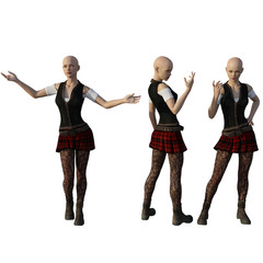Woman in school uniform three different poses. 3d render.
