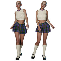 Woman in schoolgirl uniform. No hair. 3d render.