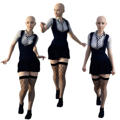 Woman in school uniform and lace stockings. No hair. 3d render.