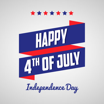 Happy 4th of July, Independence day, with ribbons and stars. Ready to use in flyers, posters, social media and decorations.