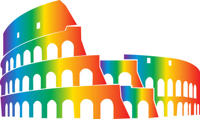 Drawing of Coliseum, Colosseum illustration in Rome, Italy. black and white illustration. Roma 2019 Pride LGBTIQ+ Fototapete