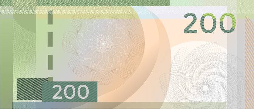Voucher template banknote 200 with guilloche pattern watermarks and border. Green background for banknote, voucher, coupon, diploma, money design, currency, note, check, cheque, reward. certificate