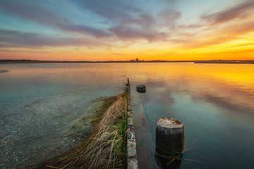 Sunset from Sinepuxent Bay at Assateague Island, Maryland Wall mural