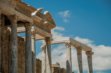 Marble columns and architrave in the Roman Theater at Merida