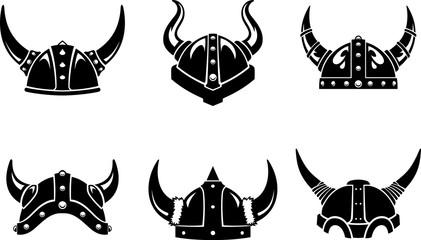 Viking Horned Helm Set Silhouette