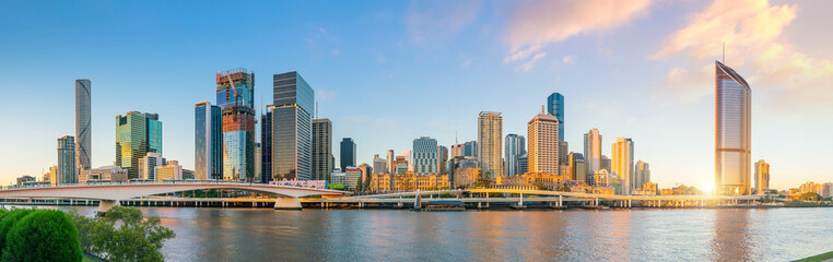 Wall Mural - Brisbane city skyline  at twilight in Australia