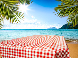 Summer background of free space for your decoration. Beach background with sun light.