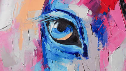 Oil horse portrait painting in multicolored tones. Conceptual abstract painting of a horse head....