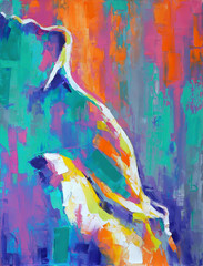 """""""Slope"""" - oil painting. Conceptual abstract picture of a girl's neck. The shape of her body resembles a mountainside. Conceptual abstract closeup of an oil painting and palette knife on canvas."""