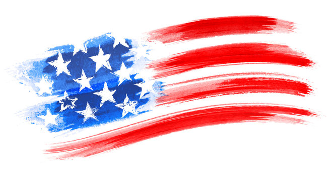 American Flag Painting, brush strokes as a layered vector file