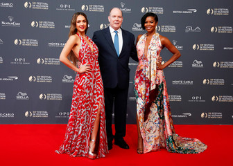 Actors Jessica Alba, Gabrielle Union and Prince Albert II of Monaco pose during the opening ceremony of the 59th Monte-Carlo Television Festival in Monaco