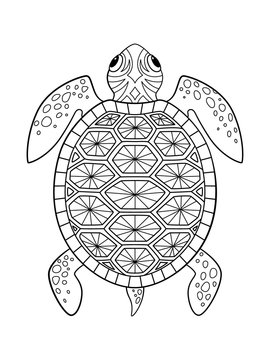Sea doodle coloring book page turtle