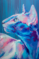 Oil cat portrait painting in moon tones. Conceptual abstract painting of a cat muzzle. Closeup of a painting by oil and palette knife on canvas.