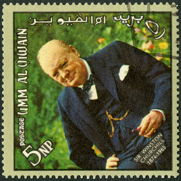 UMM AL-QUWAIN - 1965: shows Sir Winston Leonard Spencer Churchill (1874-1965), memoreal state funeral
