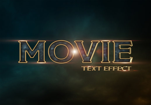 Gold-Rimmed Movie Style Text Effect