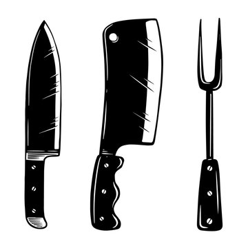 Kitchen appliances. Knife, meat cleaver, fork. Design element for logo, label, sign, poster, card, banner, flyer. Vector illustration