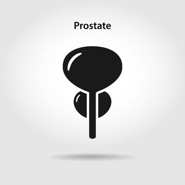 Black icon of prostate in flat style