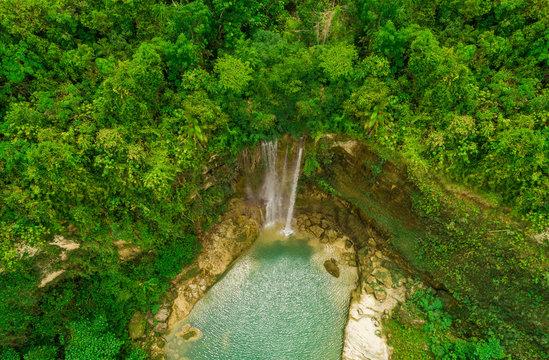 Aerial view of Camugao Waterfall in Balilihan, Philippines