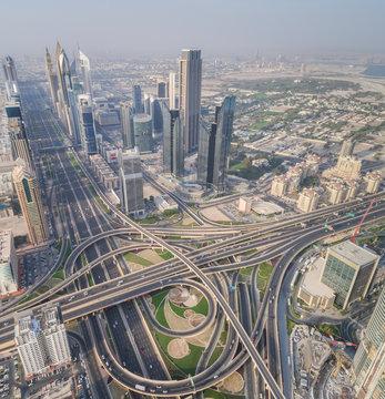 Aerial view of the traffic lanes in Dubai, U.A.E.