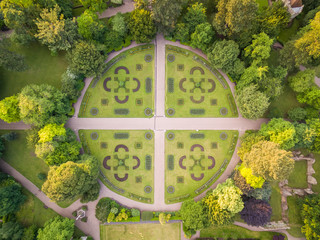 Aerial view of Abbey Gardens in Bury St Edmunds, England Wall mural