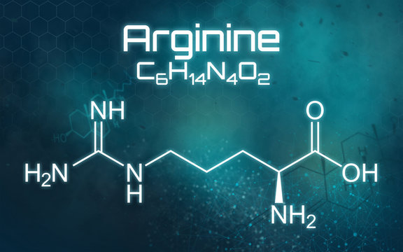 Chemical formula of Arginine on a futuristic background