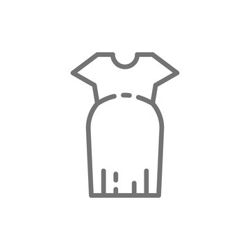 Clothes for pregnant women, oversized dress line icon.