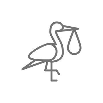 Crane bird with baby bag, stork line icon.