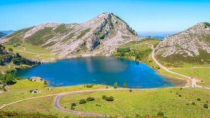 Amazing landscape of Covadonga Lakes (Lagos de Covadonga) in Picos de Europa National Park, Asturias, Spain