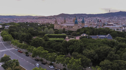 Barcelona. Aerial view in Montjuic. Catalonia,Spain. Drone Photo
