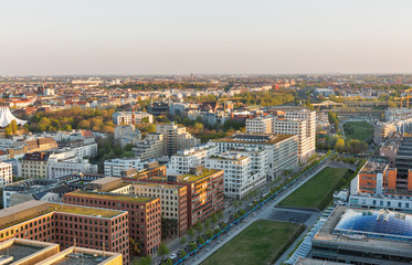Fototapeta Berlin evening aerial cityscape, Germany.
