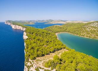 Aerial view of Lake Slano in National park Telascica in Croatia