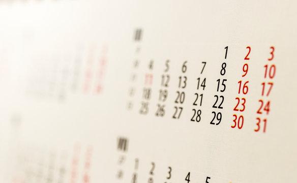Calendar. March.