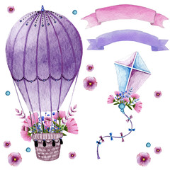 Watercolor collection with air balloon, flowers,ribbons and the kite in pastel colours.Handpainted elements beautifully decorated on white background.Pastel set.