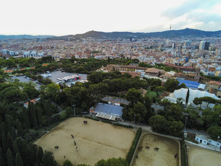 Drone in Barcelona, city of Catalonia.Spain. Aerial Photo