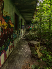 Old bedside table abandoned outside an abandoned shelter