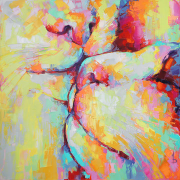 """""""Kunik"""" - oil painting. Conceptual abstract picture of kissing cats. Oil painting in colorful colors. Conceptual abstract closeup of an oil painting and palette knife on canvas."""