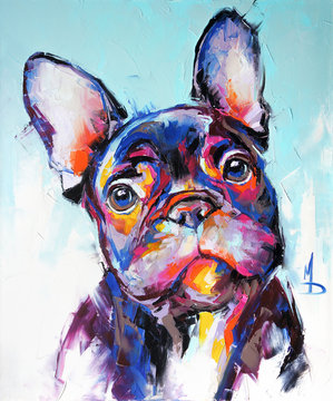 Oil dog portrait painting in multicolored tones. Conceptual abstract painting of a french bulldog muzzle. Closeup of a painting by oil and palette knife on canvas.