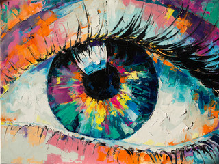 """Fluorite"" - oil painting. Conceptual abstract picture of the eye. Oil painting in colorful colors. Conceptual abstract closeup of an oil painting and palette knife on canvas. Fototapete"
