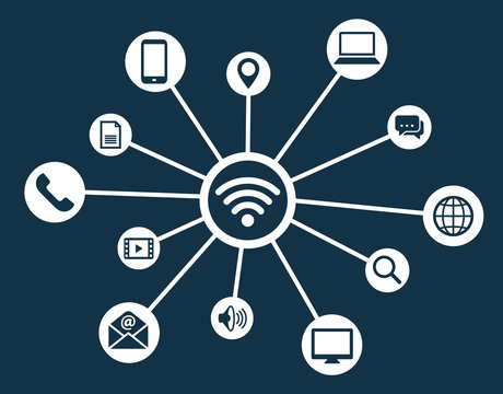 Wifi network connection concept icon symbol vector illustration