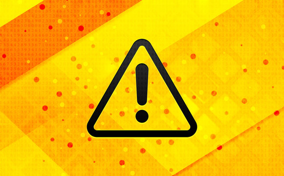 Alert icon abstract digital banner yellow background