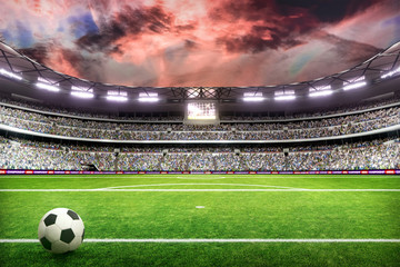soccer field with lights and spectors panorama 3d rendering