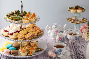High Tea, or Afternoon Tea laid out on a table with traditional cups and saucers.