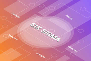 six sigma concept words isometric 3d word text concept with some related text and dot connected - vector