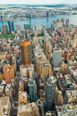 New York City Skyline Aerial View, Beautiful Cloudy Blue Sky Background, Vertical Banner