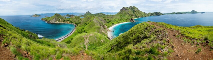 Palau Padar llandscapepanorama with green hills in Komodo National Park, Flores, Indonesia